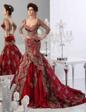2016 New Gorgeous Red Mermaid Arabic Two Pieces Dubai Kaftan Appliques Formal Party Dresses Prom Gowns Evening Dresses 421(China (Mainland))
