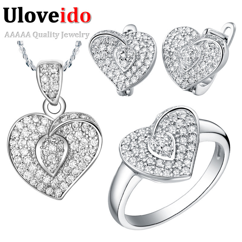 Wedding Accessories Sterling Silver Jewellery Set Ring Pendant Earring White Imitation Diamond Decoration for Women Ulove T003(China (Mainland))