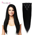 Clip In Human Hair Extensions Straight Brazilian Virgin Hair Clip In Extension African American Clip In