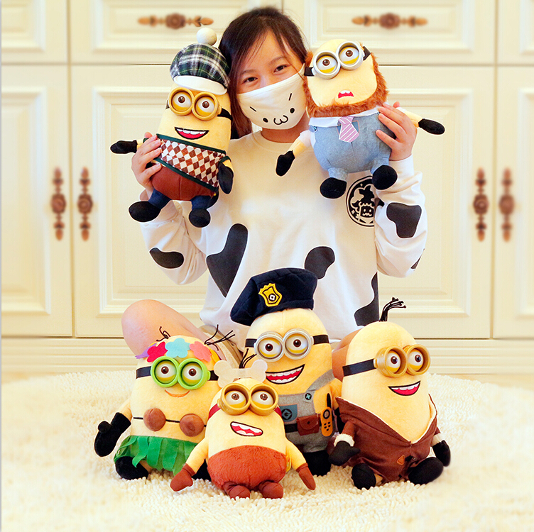2015 New 6pcs/lot 9 Movie Despicable Me 3 Minions Plush Toys Cute Stuffed Doll 3D Eyes Minion Brinquedos Gift For Kids<br><br>Aliexpress