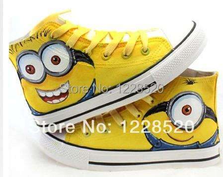 Minions Pattern Kids Hand-painted Shoes Children Sneakers Canvas High-top Lace Parent-child Size 23-40(China (Mainland))