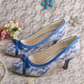 Round Toe White Lace Upper Shoes for Brides Heels 2 5 Wedding Pumps Evening Woman Shoes