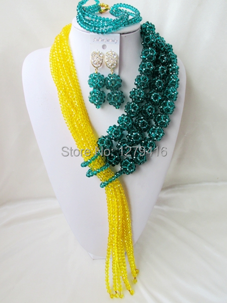 Exclusive  Crystal Nigerian Wedding African Beads Jewelry Set   AA044<br>