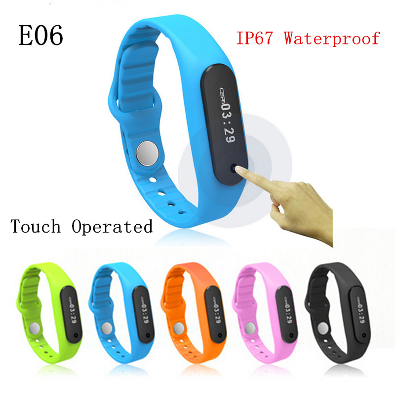 2016 Waterproof Bluetooth Smart Bracelet E06 Touch Operated wristband Health fitness tracker Sport Smartband Watch For Android(China (Mainland))