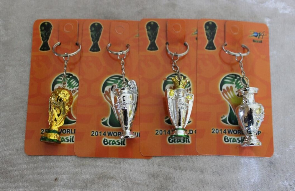 20piecs a lot Soccer Trophy Cup 4 Kind Keychain Premier League Champions League Replica Trophies Football Championship World cup(China (Mainland))