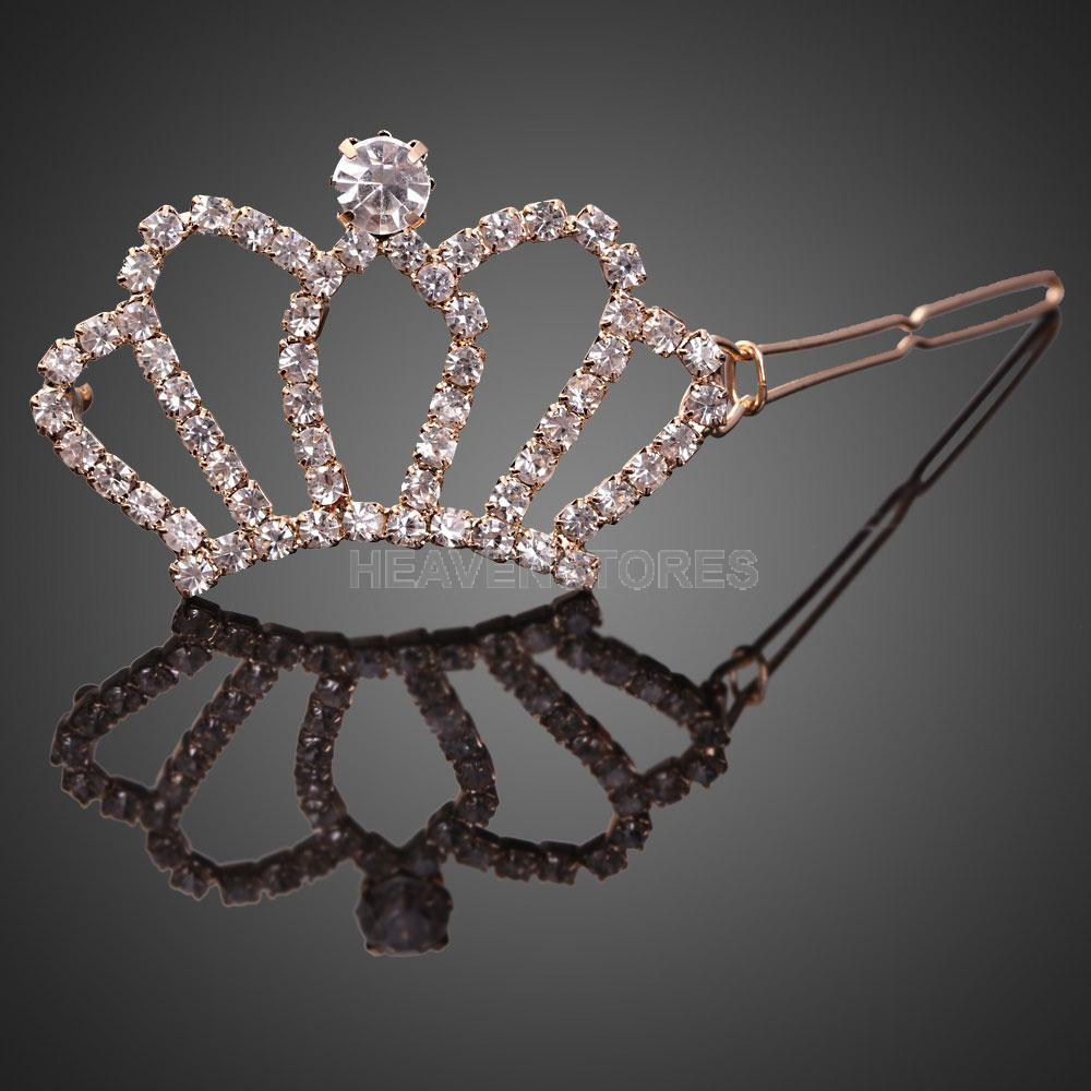 Exquisite Golden Full Crystal Rhinestone Crown Sweet Girl Hairpin Hair Clip hv3n(China (Mainland))