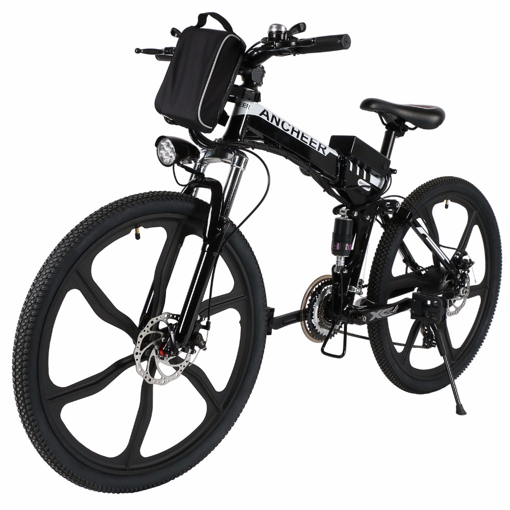 Ancheer Anti-shock Disc Brakes 26'' Bike 27 Speed Foldable Electric Mountain Bicycle with Lithium-Ion Battery 3 Color(China (Mainland))