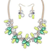 Hot-selling fashion fresh gem rhinestone Necklace set jewelry for woman or girl(China (Mainland))