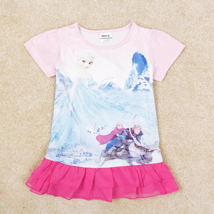 NOVA kids wear children clothing printed beautiful girl 2015 new Lolita style summer short sleeve dress baby girls H5302 - Masermy Store store