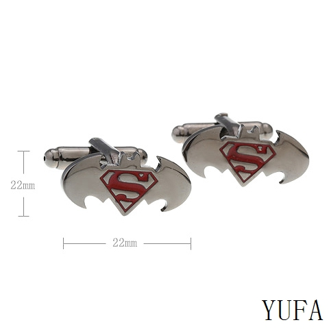 Shirt Accessories Superhero Trendy Design Batman Cufflinks Top Quality Free shipping Superman Combinated Cufflinks For Party(China (Mainland))