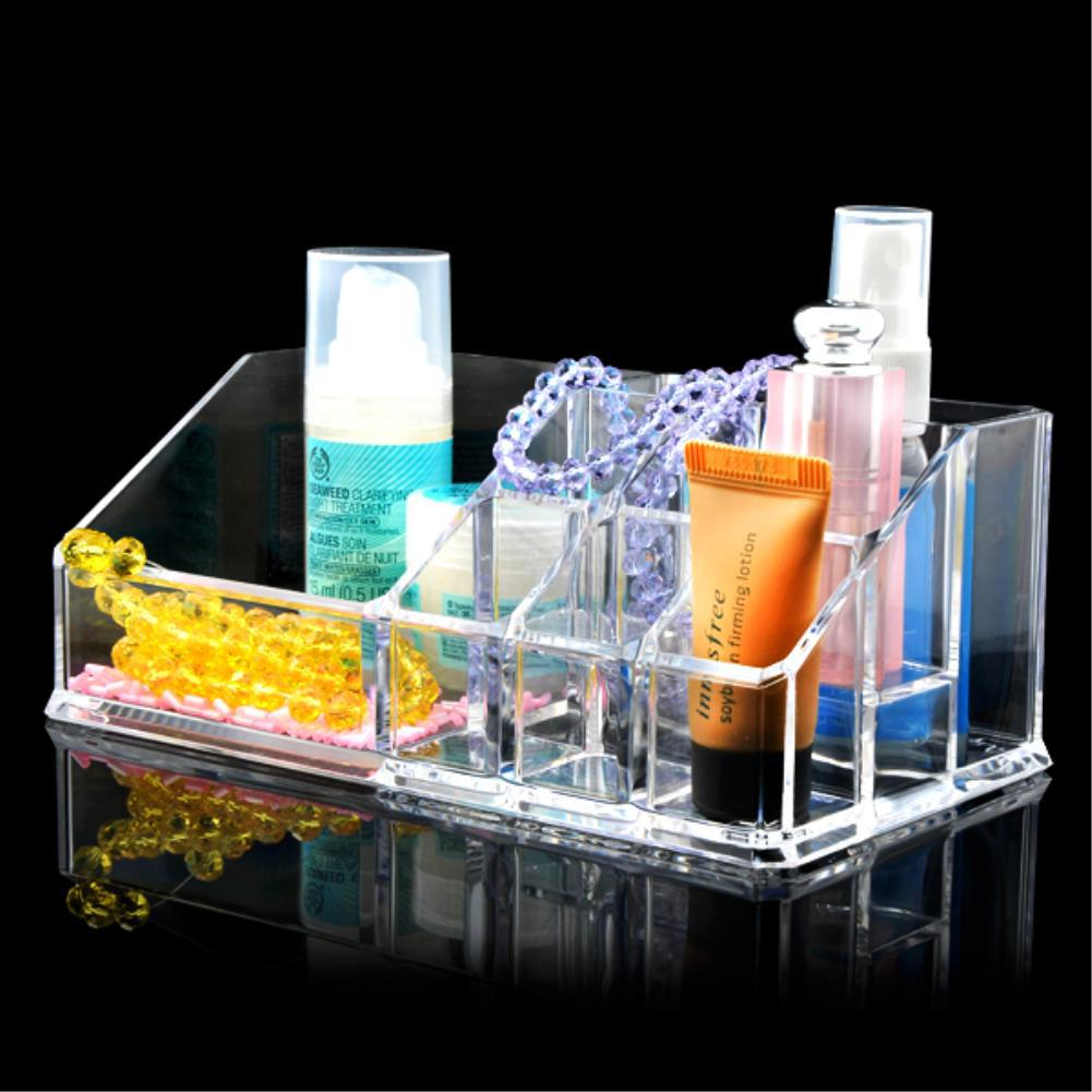 Hot Sale 9 Grids Trapezoid Cosmetic Makeup Case Lipstick Display Stand Skin Care Thicken Clear Acrylic Organizer Storage Box(China (Mainland))