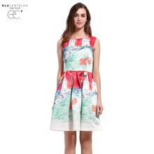 ElaCentelha Women Summer Dress Baroque Novelty New Fashion Imitation Painting Innocent Printing Dress Woman Sundress Day Dresses(China (Mainland))