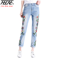 THHONE Ripped Jeans Women Embroidered Denim Pants Trousers Summer Holes Cool Flower Vaqueros Fashion High Waist