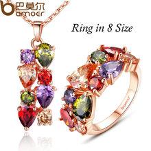 BAMOER יוקרה זהב צבע המונה ליזה תכשיטי סטים עם ססגוניות AAA מעוקב זירקון לנשים חתונה כלה תכשיטי סטי ZH036(China)