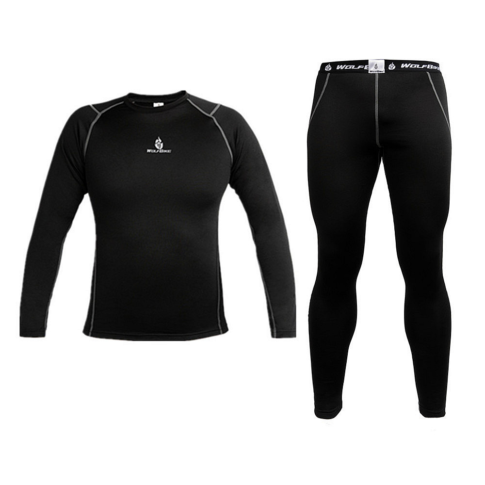 WOLFBIKE Mens Thermal Fleece Quick-dry Base Layer Under Wear Cycling Bike Long Sleeve Jersey Tight Pants Winter Sports clothes <br><br>Aliexpress