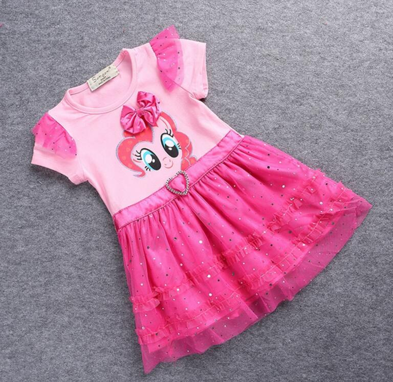 2016 children girls cartoon My Pony Princess children's dresses cotton baby clothes costume summer kids dress clothes boutique(China (Mainland))