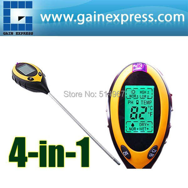 4 1 Digital pH Meter measure Soil PH/ Temperature / Moisture / Sunlight Tester Backlight