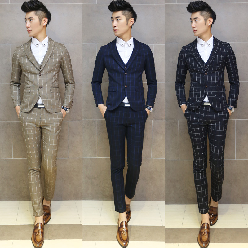 2015 men's suits and groom best man wedding dress Slim casual plaid three-piece suit