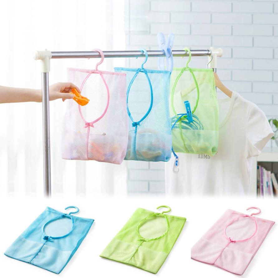 Super Deal 1pc Kitchen Bathroom Clothesline Storage Dry Doll Pillow Shelf Mesh Bag Hook(China (Mainland))
