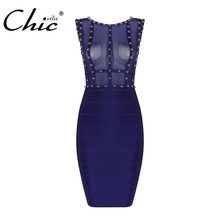 Buy CHIC VITA Sexy Mesh Rivet Bandage Dress Women Sheath Sleeveless Solid Fashion Lady Bodycon Club Dress Femme Vestidos 2017 New for $25.60 in AliExpress store