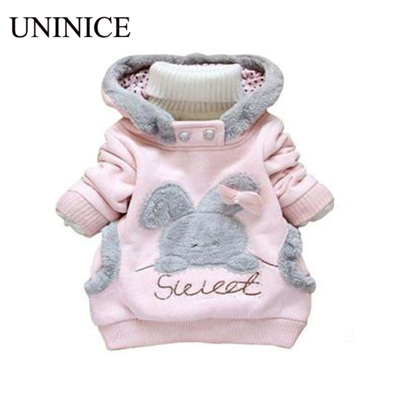 Retail Children Clothing Cartoon Rabbit Fleece Outerwear girl fashion clothes/ hooded jacket/ Winter Coat 2-7y baby 2 colors  -  Teenage store(drop shipping store)