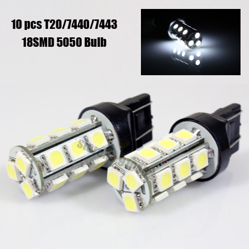 Free shipping White Red Blue Amber 10x T20 7443/7440 992A WHITE 18 5050-SMD LED LIGHT BULBS STOP/BRAKE/BACKUP/TAIL LAMPS(China (Mainland))