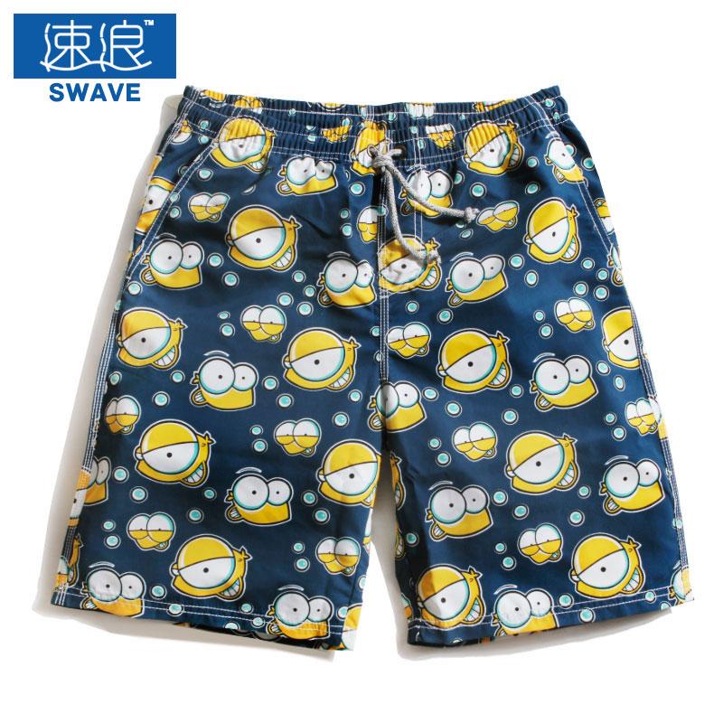 Summer quick-drying loose plus size cartoon print beach pants men's boxer swimming trunks spa shorts - landon store