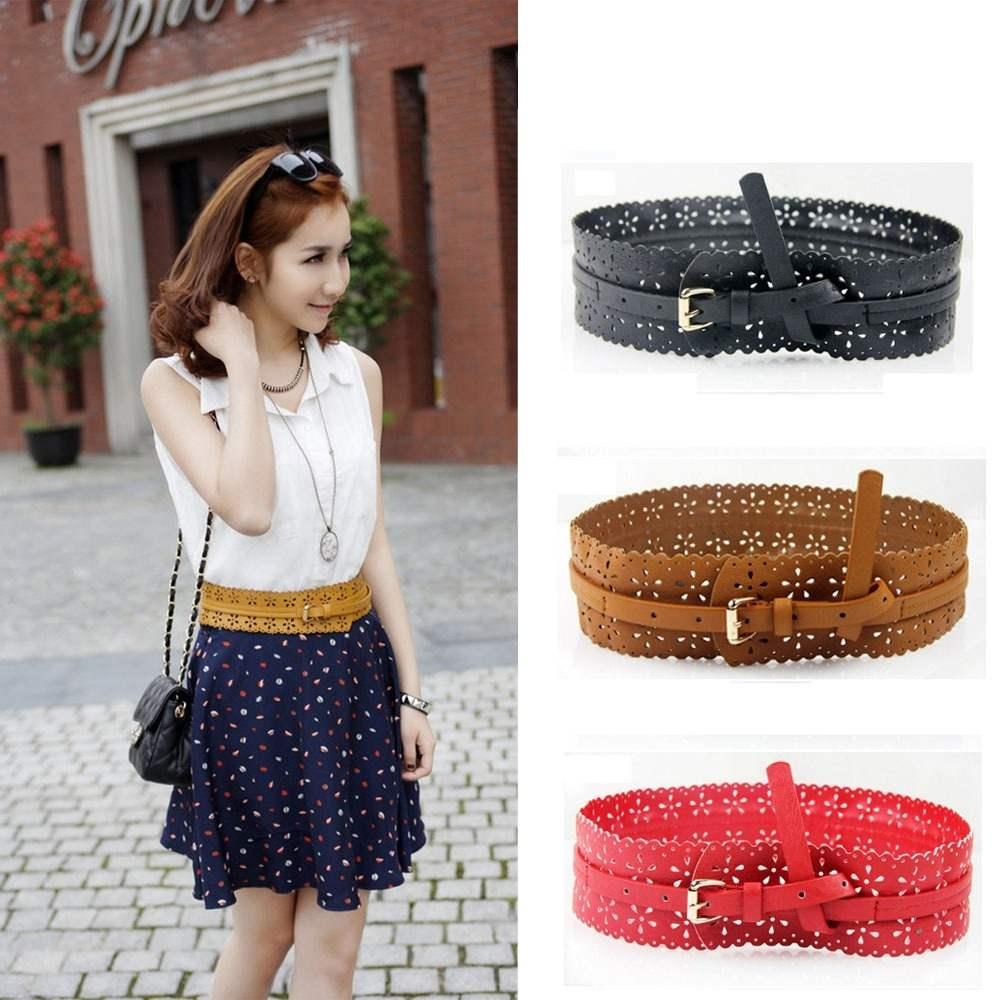 Quality Waist Belt Fasion Wide PU Leather Hollow Waistband Black/Red/Camel(China (Mainland))