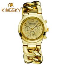 2015 nueva moda Kingsky marca Kingsky marca cadena transversal redonda Band oro rosa mujeres reloj de señora Dress reloj de tiempo