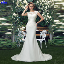 Buy Charming Scalloped Flower Wedding Dresses 2017 ivory lace appliques mermaid wedding dress trumpet chiffon outdoor bridal gown for $166.32 in AliExpress store