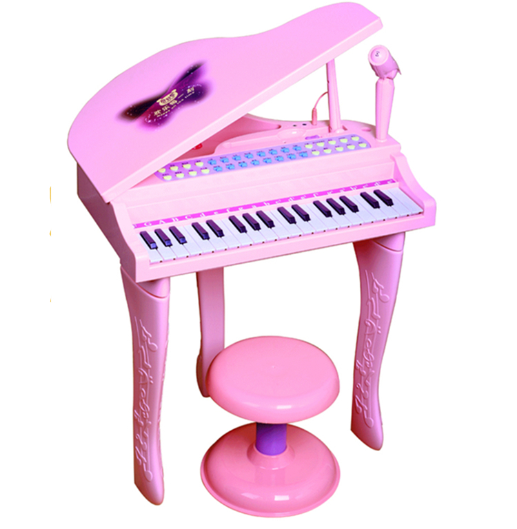 Free Shipping Fancy Baby Grand Piano in Pink Sing Along Keyboard Musical Toy Set with Stool(China (Mainland))
