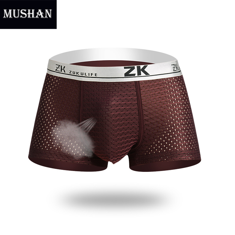 Best Men Modal Underwear Plus Size 5XL Mesh Boxer Shorts Men Ice Silk Fabric Breathable Boxer Big men U Pouch Sexy Cueca Boxer(China (Mainland))