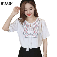 Buy Embroidery Blouse Ethnic style linen blouse shirt women vintage Bohemian Pattern shirt summer 2017 new short sleeve tops female for $5.12 in AliExpress store