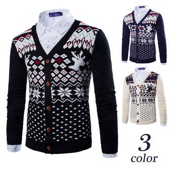 Hot 2015 New Fashion Men Casual Sweater V-Neck Men Knitting Button Cardigan Men British Classic Style Slim Fit Brand Men Homme