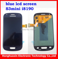 free shipping blue color  LCD Display screen Assembly replacement for samsung S3 mini I8190+glass touch screen+tools