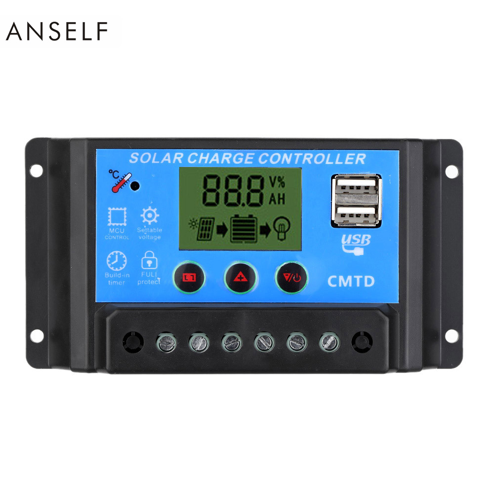 10A 12V/24V LCD Solar Charge Controller with Auto Regulator Timer for Solar Panel Battery Lamp LED Lighting Overload Protection(China (Mainland))