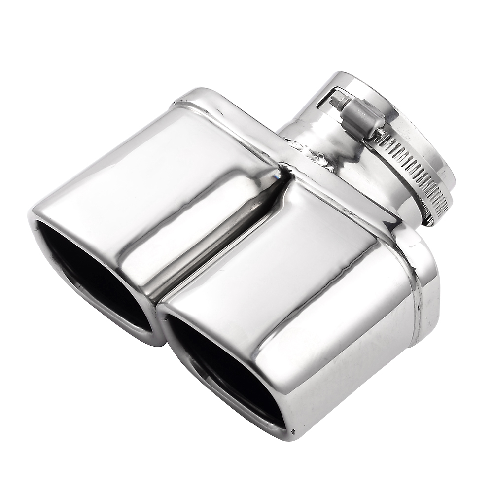 Y-Pipe Car Exhaust Pipe Stainless Steel Dual Round Tail Muffler Tip Pipe Auto Silver Color Inside Diameter 7 cm Car Pipe(China (Mainland))
