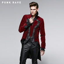 Punk Rave Gothic Men Red Polyamide Material Flower Pattern Winter Coat Embossed Metal Buttons Leather Long Coat With High Collar(China (Mainland))