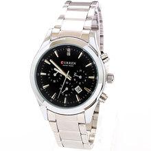 Brazalete de acero inoxidable reloj Curren blanco moda elegante hombres lujo Dropship venta al por mayor