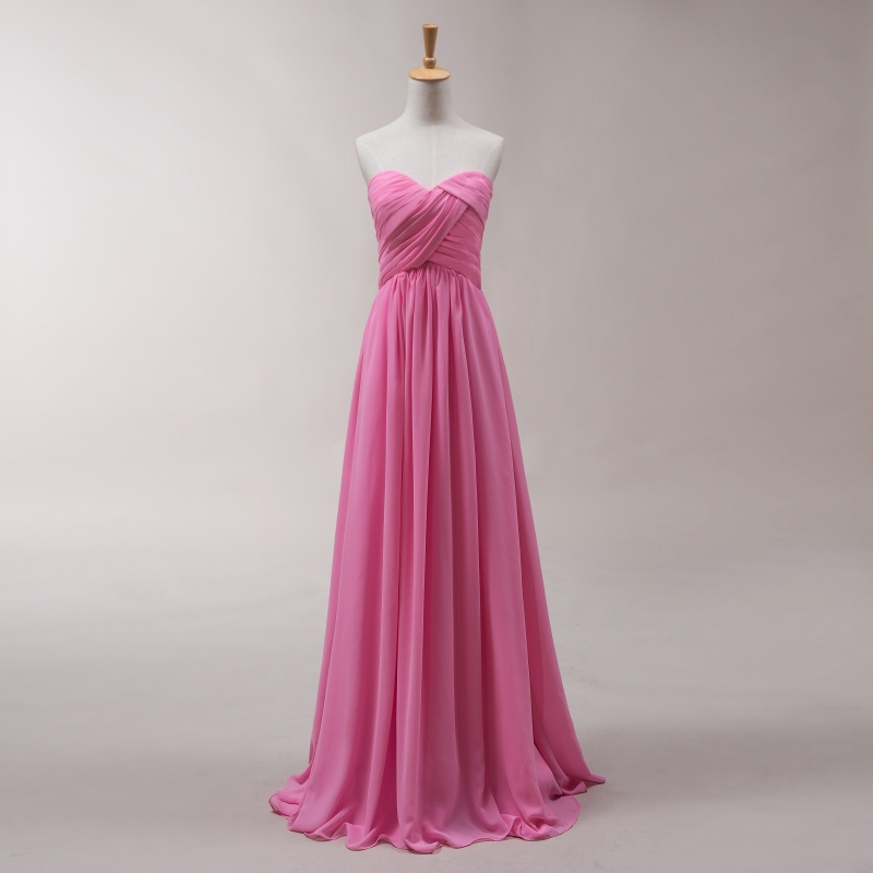 Hot pink sweetheart backless bridesmaid dresses chiffon for Maid of honor wedding dresses