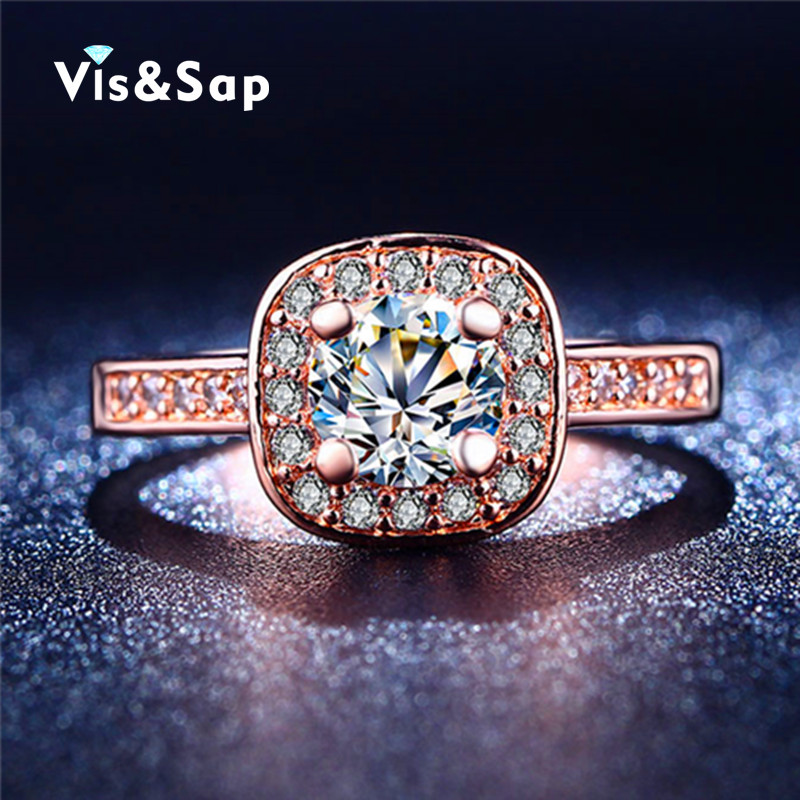 18K Rose Gold plated rings CZ diamond jewelry luxury engagement Wedding Rings For Women High quality Gift fashion Jewelry VSR192(China (Mainland))