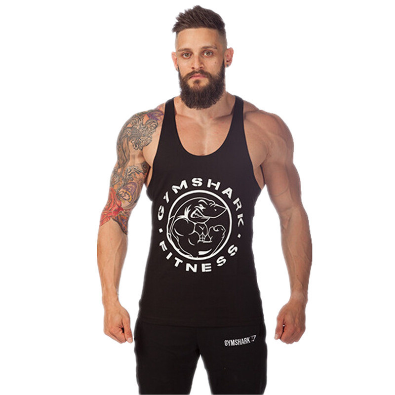 2015 cotton fitness clothes Gym bodybuilding tank top men Sleeveless sport tops gym fitness vest(China (Mainland))
