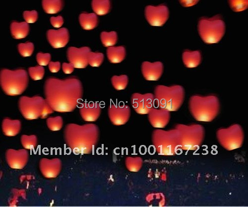 free shipping 25PCS/lot RED Heart Sky Lanterns Wishing Lamp SKY CHINESE Paper LANTERNS for BIRTHDAY WEDDING PARTY(China (Mainland))