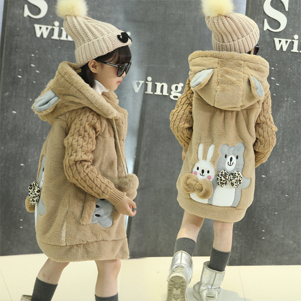 OLEKID 2017 New Cartoon Rabbit Winter Girls Parka Thick Warm Hooded Children Outerwear 5-14 Years Teenage Girls Sweater Coat