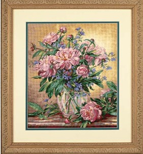 Top Quality lovely counted cross stitch kit peony flower in vase, vase flower dimensions 35211