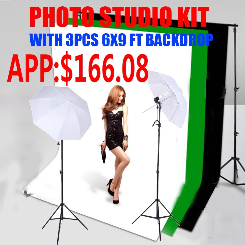 Photo Photography Lighting Studio Kit Photo Studio 3 Point Lighting Stand Tripod+ 2 lighting unbrella Photography lamp holder(China (Mainland))