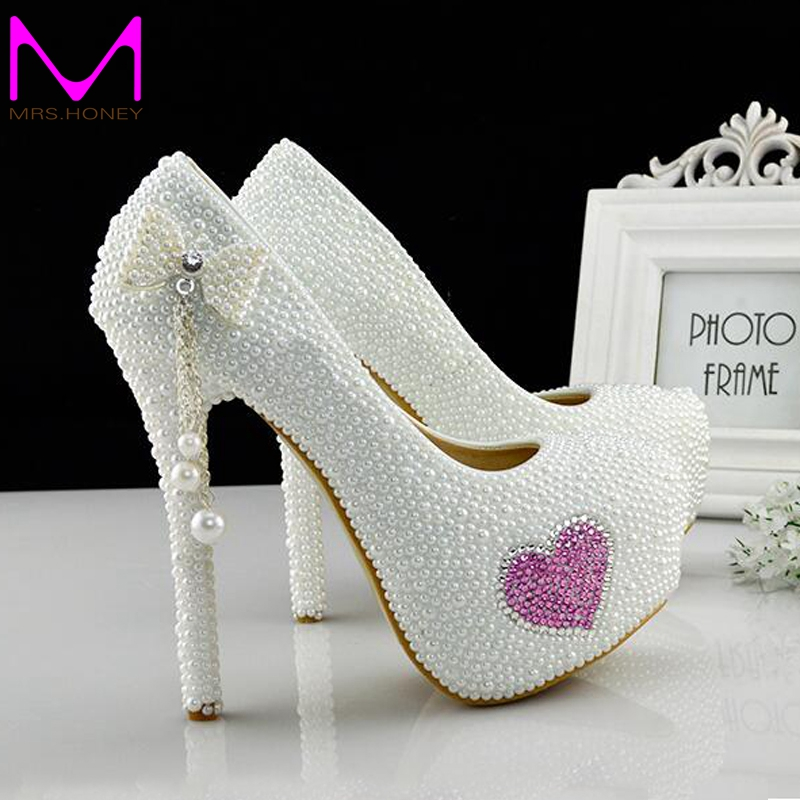 Фотография Pageant Evening Gown Shoes White Pearl 2016 New Formal Dress Shoes Wedding Party Prom Pumps Platforms Adult Ceremony Party Shoes