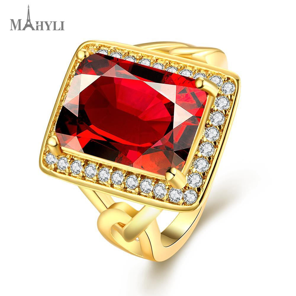 MAHYLI real 18k gold plated crystal wedding rings for women stainless steel square red stone ring promotion wholesale(China (Mainland))