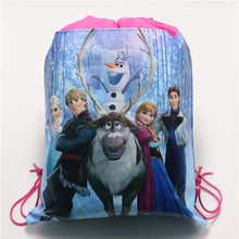 anna elsa princess non-woven fabrics backpacks school bag party decorations drawstring bag kids girls birthday gift supplies(China (Mainland))