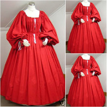 Freeship!Customer-made Red Cotton  Halloween Dresses Gothic Cosplay Victorian dress Renaissance Dress Steampunk dress V-202